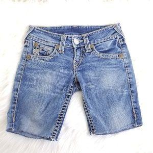 True Religion Medium Wash Cut Off Shorts B111